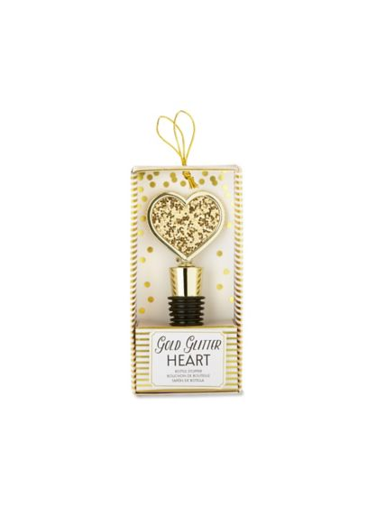 Gold Glitter Heart Bottle Stopper - Wedding Gifts & Decorations