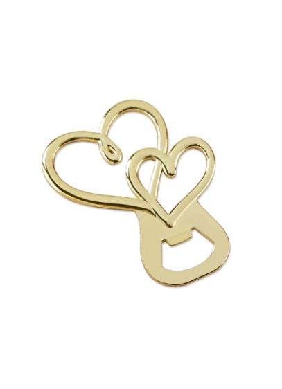 Gold Double Heart Bottle Opener Set of 12 - Wedding Gifts & Decorations