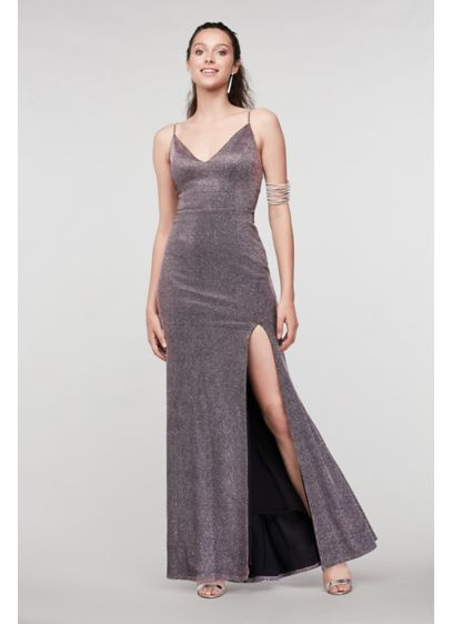 Scoop Back V-Neck Glitter Gown with Front Slit - Channel your favorite celebrity in this glittery sheath