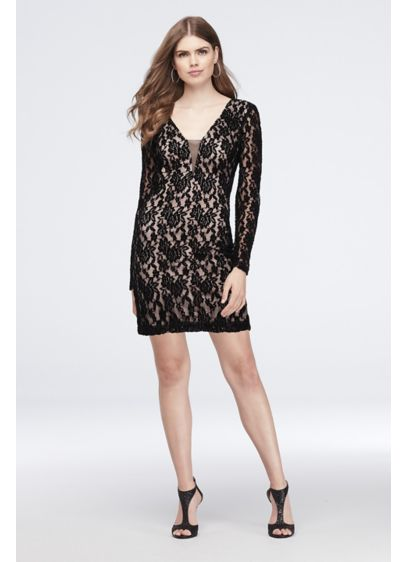 Long Sleeve Lace Sheath Dress with Open Back - This sophisticated lace sheath dress is extra alluring