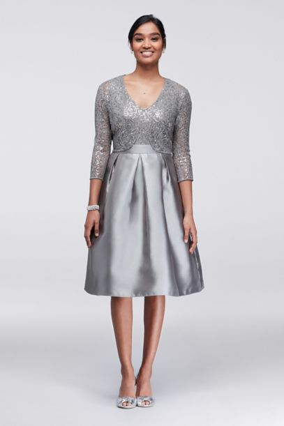 Sequin And Mikado Knee Length Dress With Jacket David S Bridal
