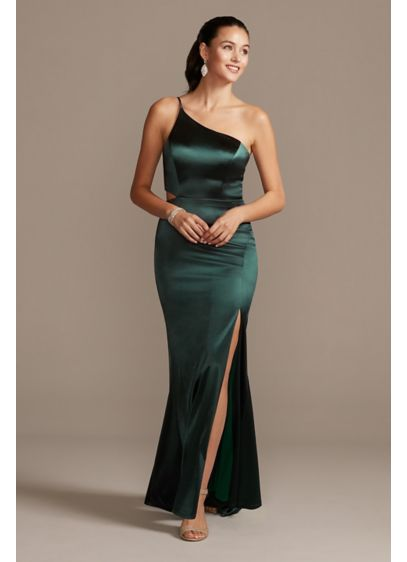 One-Shoulder Spaghetti Strap Cutout Satin Gown - The epitome of sleek, this curve-hugging gown is