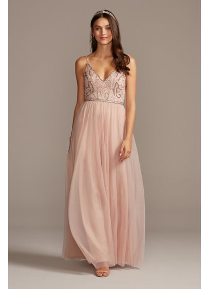 Skinny Strap Beaded Bodice Gown - Turn heads at your next special occasion in