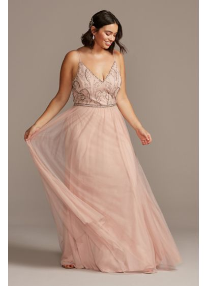 Skinny Strap Beaded Bodice Plus Size Gown - Turn heads at your next special occasion in