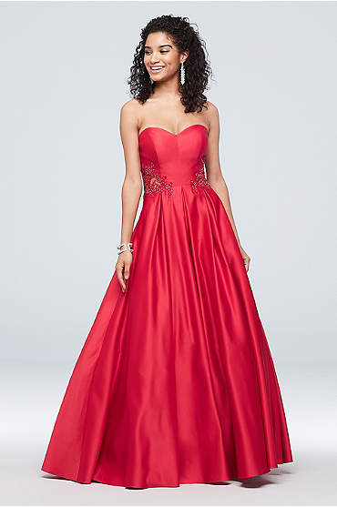 Strapless Satin Ball Gown with Waist Embellishment
