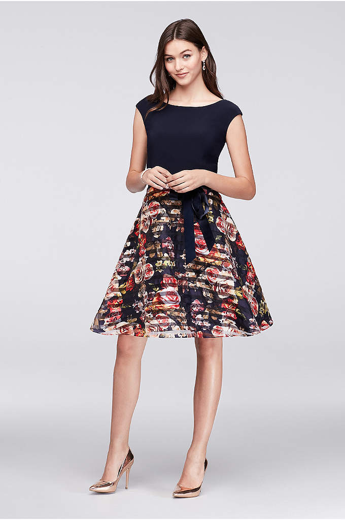 Jersey and Striped Floral Organza Party Dress - Made for twirling, this short party dress features