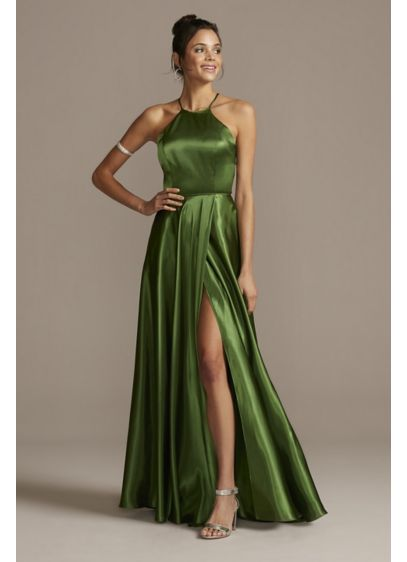 High Neck Satin Slit Gown with Pockets - A traditional ball gown silhouette becomes anything but
