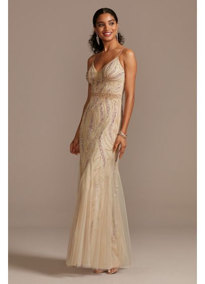 Beaded Overlay V-Neck Gown with Spaghetti Straps - Intricately crafted beadwork forms eye-catching designs on the