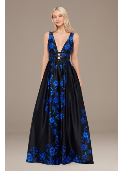 Floral Plunging-V Ball Gown with Embellished Bands - Dynamic and dramatic, this ball gown features a
