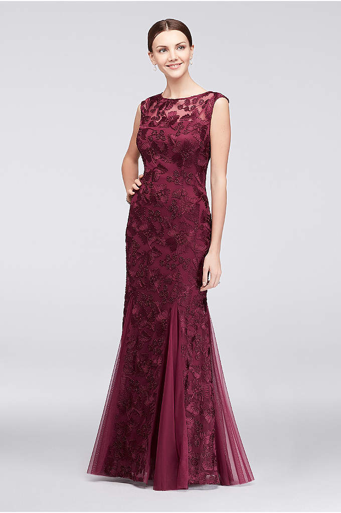 Embroidered Dress with Cap Sleeve and Tulle Godets - This long tulle dress is a lovely choice
