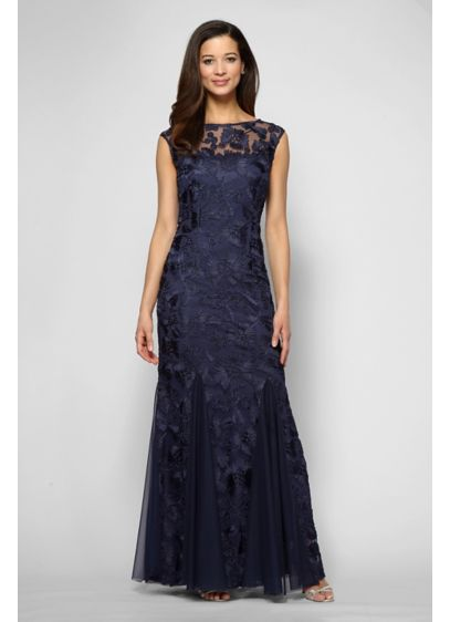 Cap Sleeves Embroidered Dress with Tulle Godets - This long tulle dress is a lovely choice