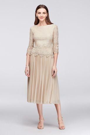 Webbed Lace And Mesh Tea Length Dress David S Bridal