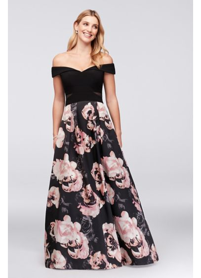 Off The Shoulder Floral Jersey And Satin Ball Gown Davids Bridal