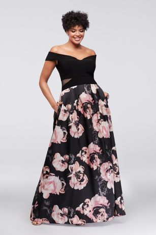fd4626696f3a5 Off-the-Shoulder Floral Plus Size Ball Gown