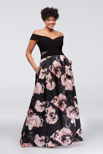 Off The Shoulder Floral Plus Size Ball Gown Davids Bridal