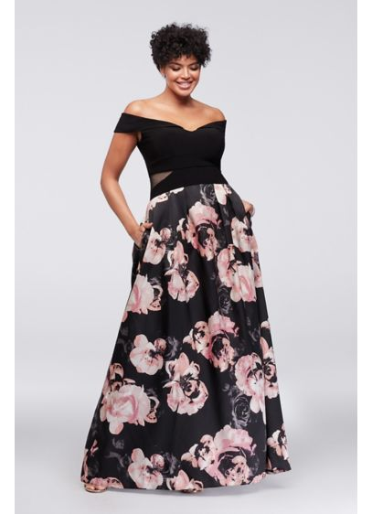 bb986f629c30a ... Floral Plus Size Ball Gown. 1173XW. Long Ballgown Off the Shoulder  Cocktail and Party Dress - Xscape