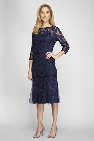 Illusion Fit And Flare Embroidered Midi Dress David S Bridal