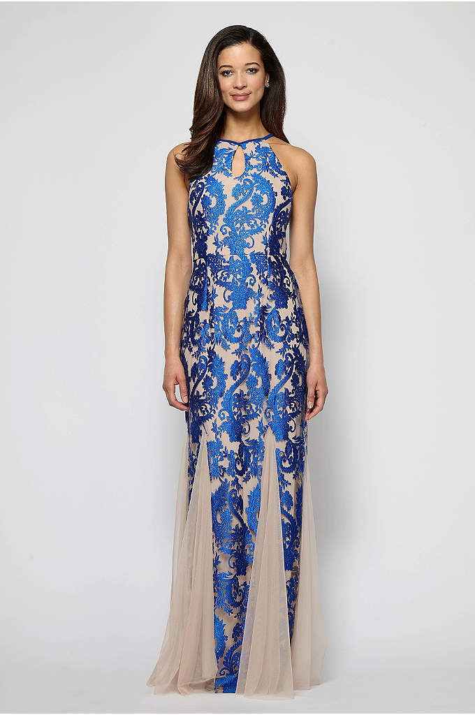 Embroidered Fit-and-Flare Halter Gown with Keyhole - Sweeping godets give this sleek, embroidered fit-and-flare a