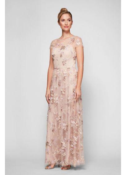 Long Beige Soft & Flowy Alex Evenings Bridesmaid Dress