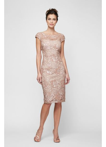 Tea Length Sheath Cap Sleeves Cocktail and Party Dress - Alex Evenings