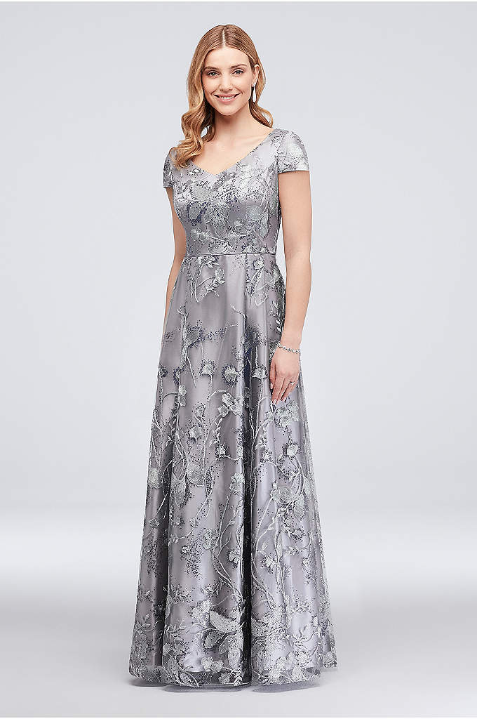 Floral Embroidered Ball Gown with Mini Sequins - A scattering of mini sequins adds understated sparkle