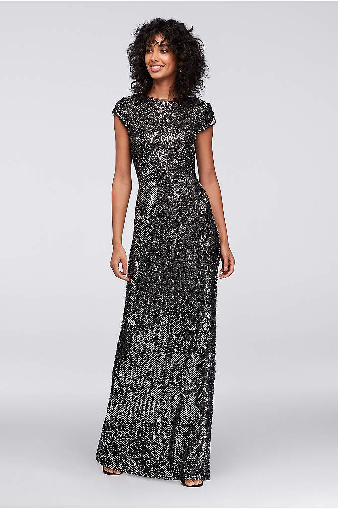 Cap Sleeve Sequin Gown with Draped Back - Simple in shape but dazzling in detail, this