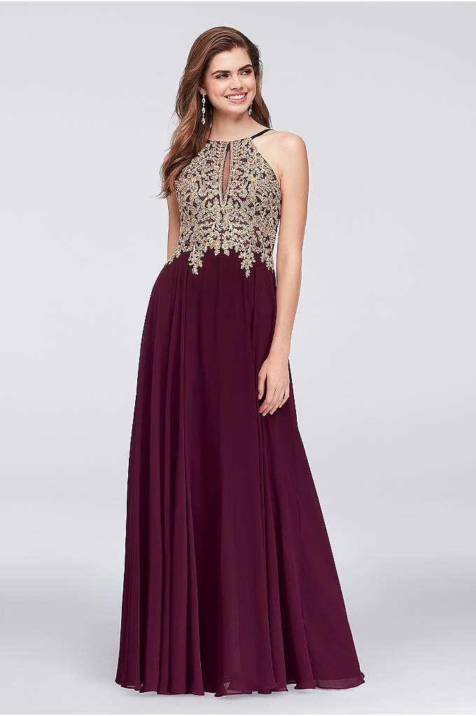 Metallic Corded Lace and Chiffon A-Line Gown - Gold corded lace flowers and iridescent crystals add