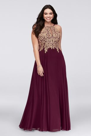 e6f9715502db Metallic Corded Lace and Chiffon A-Line Gown