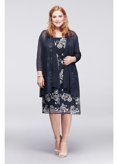 Metallic Embroidered Plus Size Jacket Dress | David\'s Bridal