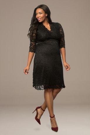 5eff91ef0c1 Short Sheath 3 4 Sleeves Dress - Kiyonna · Kiyonna. Scalloped Boudoir Lace  Plus Size Cocktail Dress