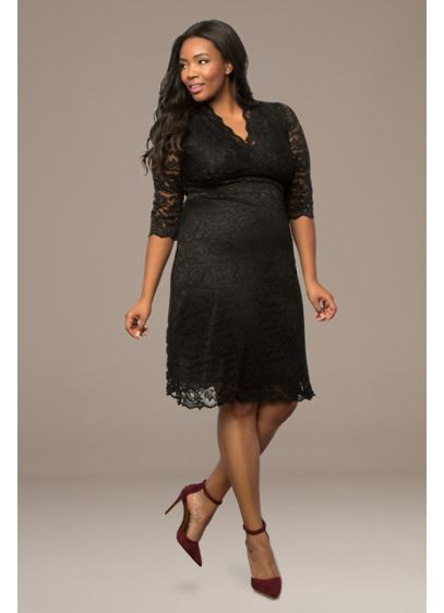 Scalloped Boudoir Lace Plus Size Cocktail Dress Davids Bridal