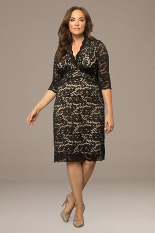 Short Sheath 3/4 Sleeves Dress - Kiyonna