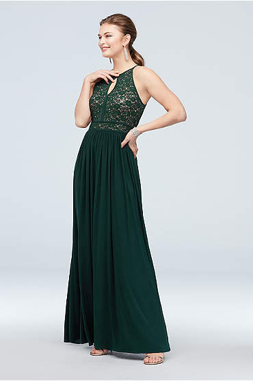 Lace Keyhole Tie Back Halter Dress