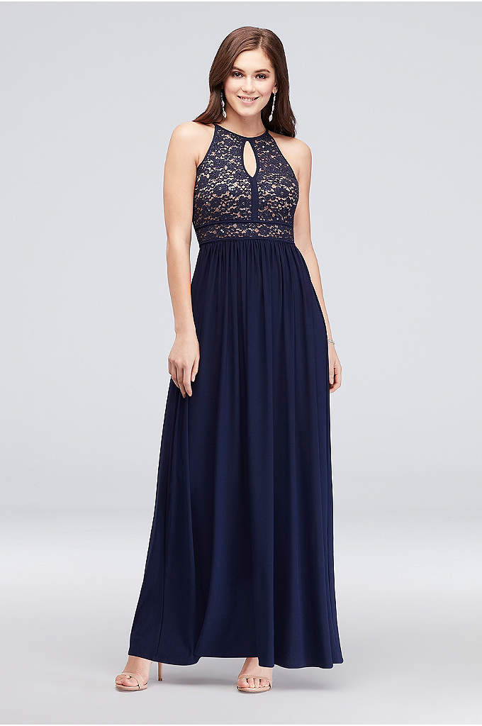 Lace Keyhole Tie Back Halter Dress - Radiate effortless beauty in this tie back halter