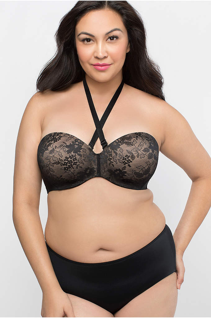 Curvy Couture Strapless Convertible Push-Up Bra - Contoured, no-show lace cups offer targeted shaping with