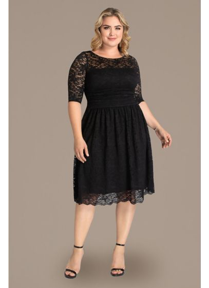 183d7dd304b Luna Lace Plus Size Dress. 12120901. Short Sheath 3 4 Sleeves Cocktail and  Party Dress - Kiyonna