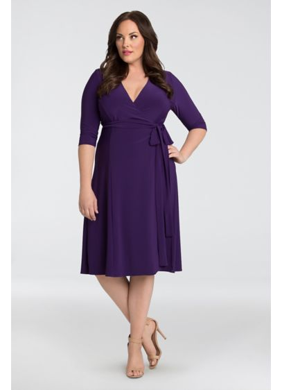 29b6decc6e1 Essential Jersey Plus Size Wrap Dress. 12131806. Tea Length A-Line Elbow  Sleeves Cocktail and Party Dress - Kiyonna