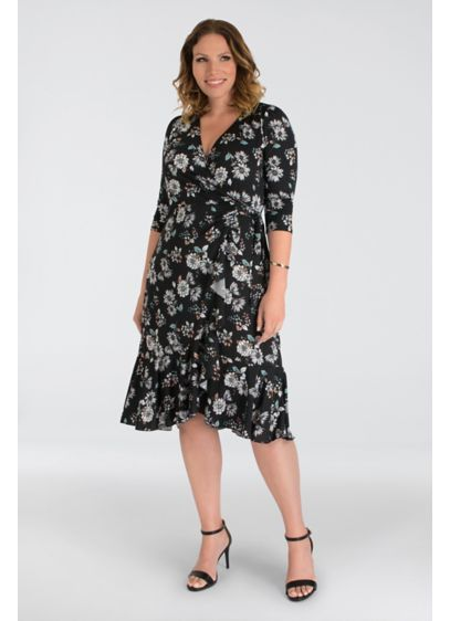 Printed Cascading Plus Size Wrap Dress - Show off your shape in this jersey wrap