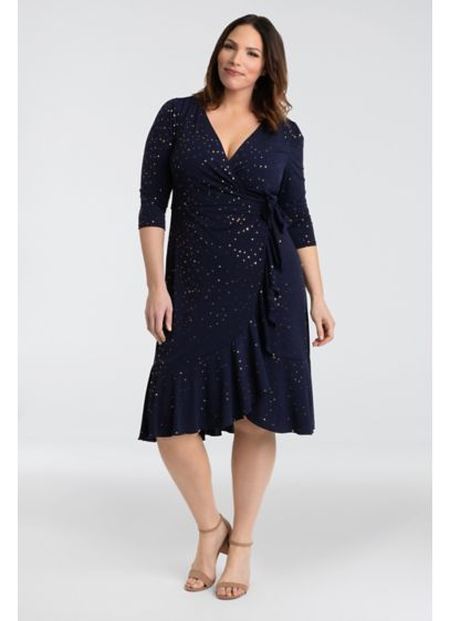 Cascading Plus Size Printed Wrap Dress - Show off your shape in this jersey wrap