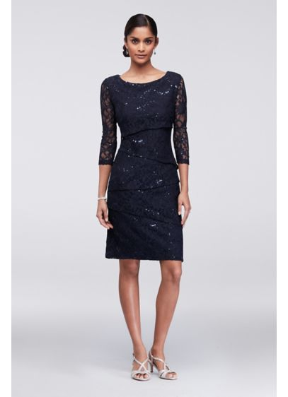 Short Sheath 3/4 Sleeves Cocktail and Party Dress - Ronni Nicole