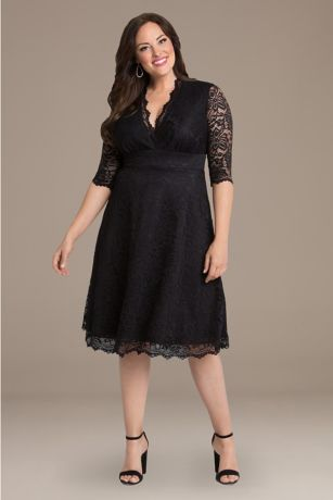 Short A-Line 3/4 Sleeves Dress - Kiyonna