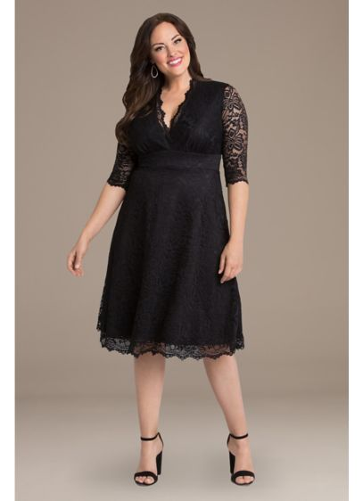 ab4fa78375c Mademoiselle Lace Plus Size Dress. 12150901. Short A-Line 3 4 Sleeves  Cocktail and Party Dress - Kiyonna