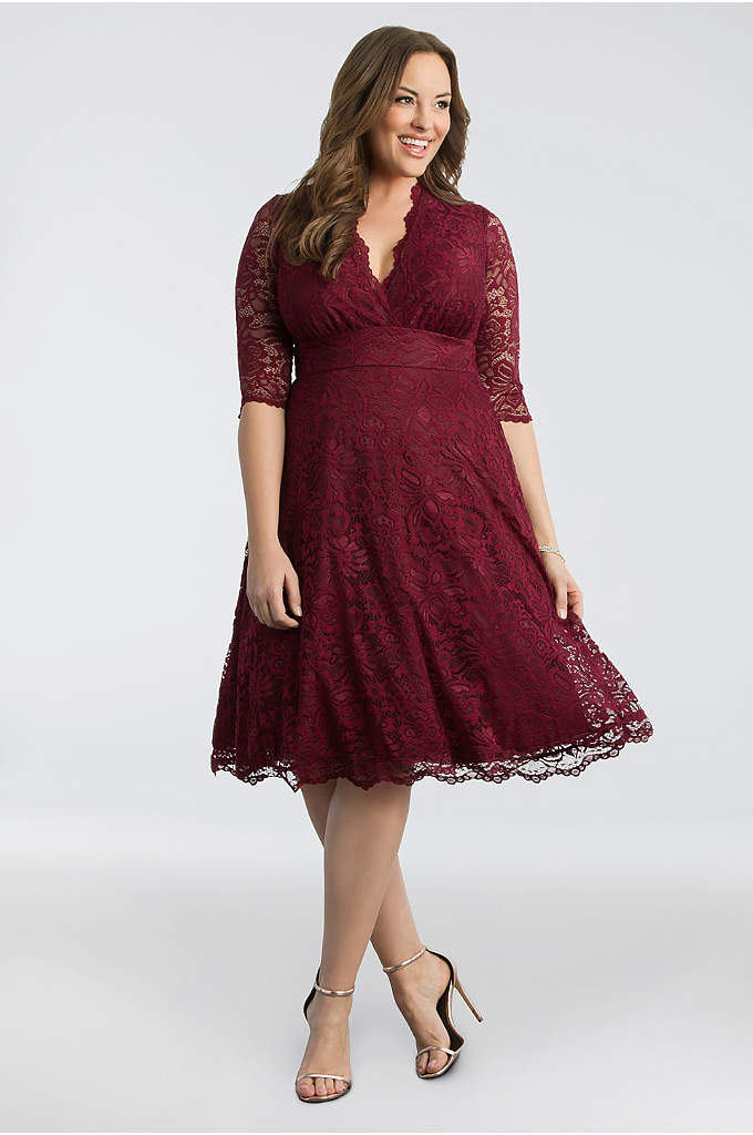 3/4 Sleeved Soft A-Line Lace Plus Size Dress - With a scalloped surplice neckline, sheer 3/4-sleeves, and