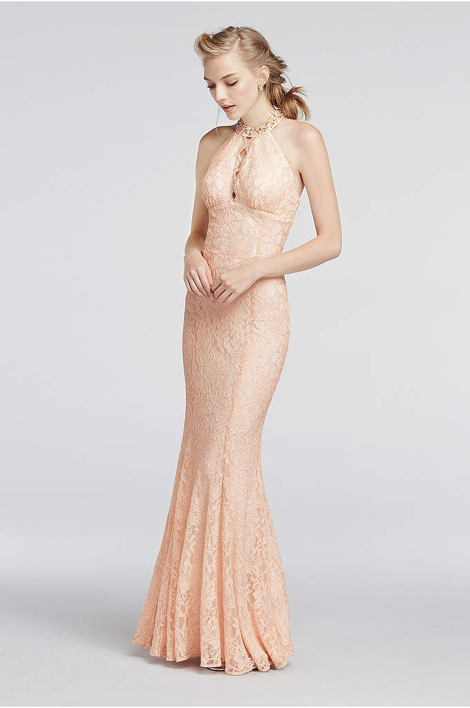 Halter Lace Prom Dress with Scalloped Keyhole