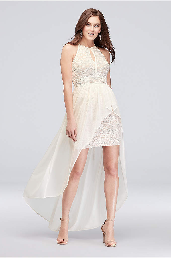 Lace Glitter Keyhole Halter Dress with Overskirt - A winning combination of flowy and fitted, this