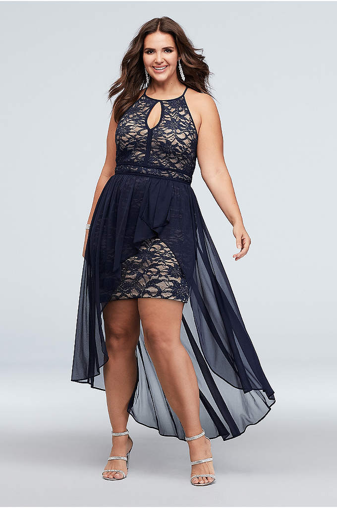 Lace Keyhole Plus Size Halter Dress with Overskirt