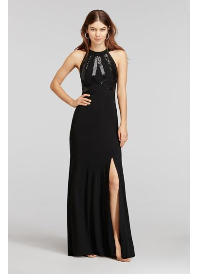 Long A-Line Halter Cocktail and Party Dress - Morgan and Co
