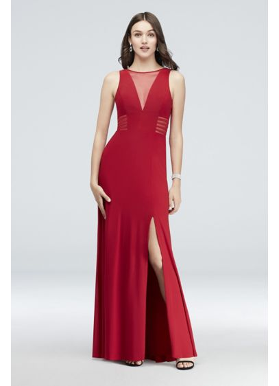 Illusion-Inset V-Neck Jersey Sheath Gown - Illusion insets at the deeply plunging neckline and