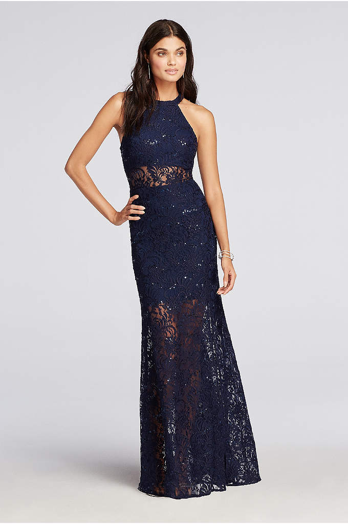 Halter Lace Prom Dress with Illusion Waist