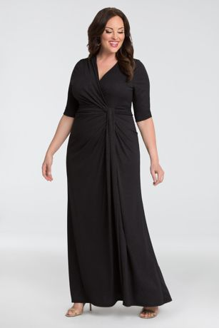 Long Fit and Flare 3/4 Sleeves Dress - Kiyonna